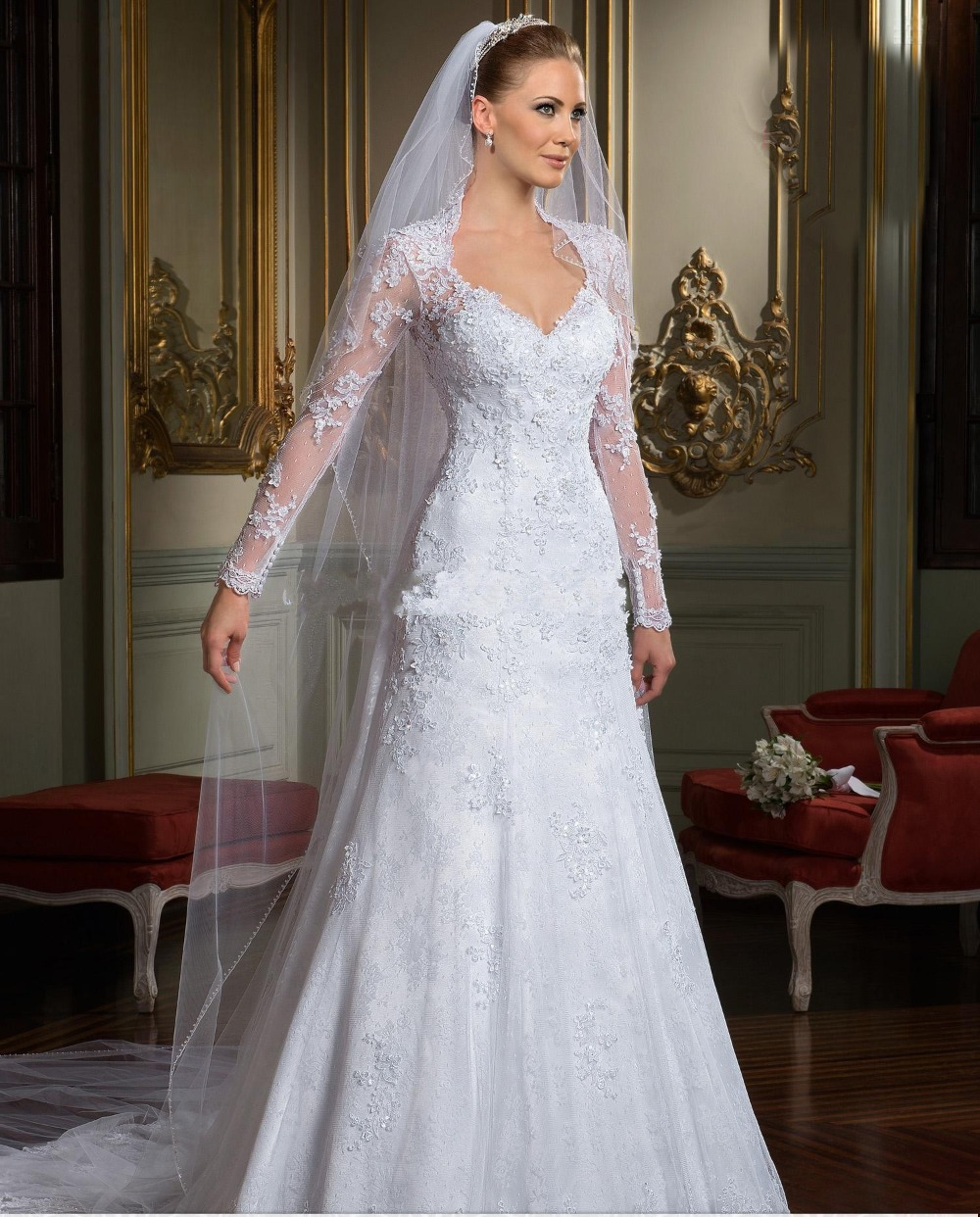 2014 best selling backless wedding dresses long sleeves for Lace sleeve backless wedding dress