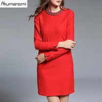 Autumn Winter Black Red Striped Dress Beading O neck Open Stitch Full Sleeve Women's Clothes Spring Dress High Quality Plus Size