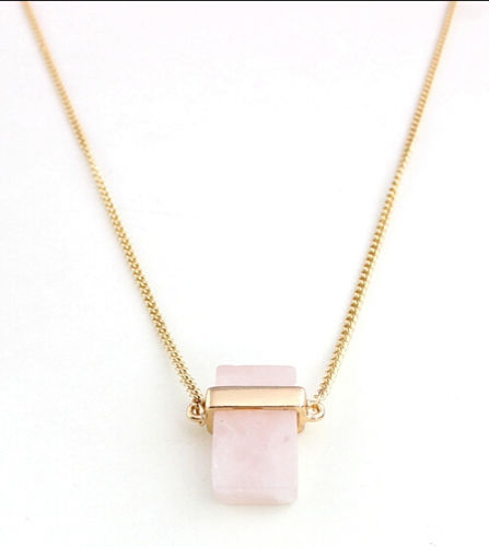 568cc37c3 J.e.w.e.l Sand +Sky Crew Rectangle Rose Quartz Convertible Pendant Necklace  2-in-1 Clear Crystal Pave