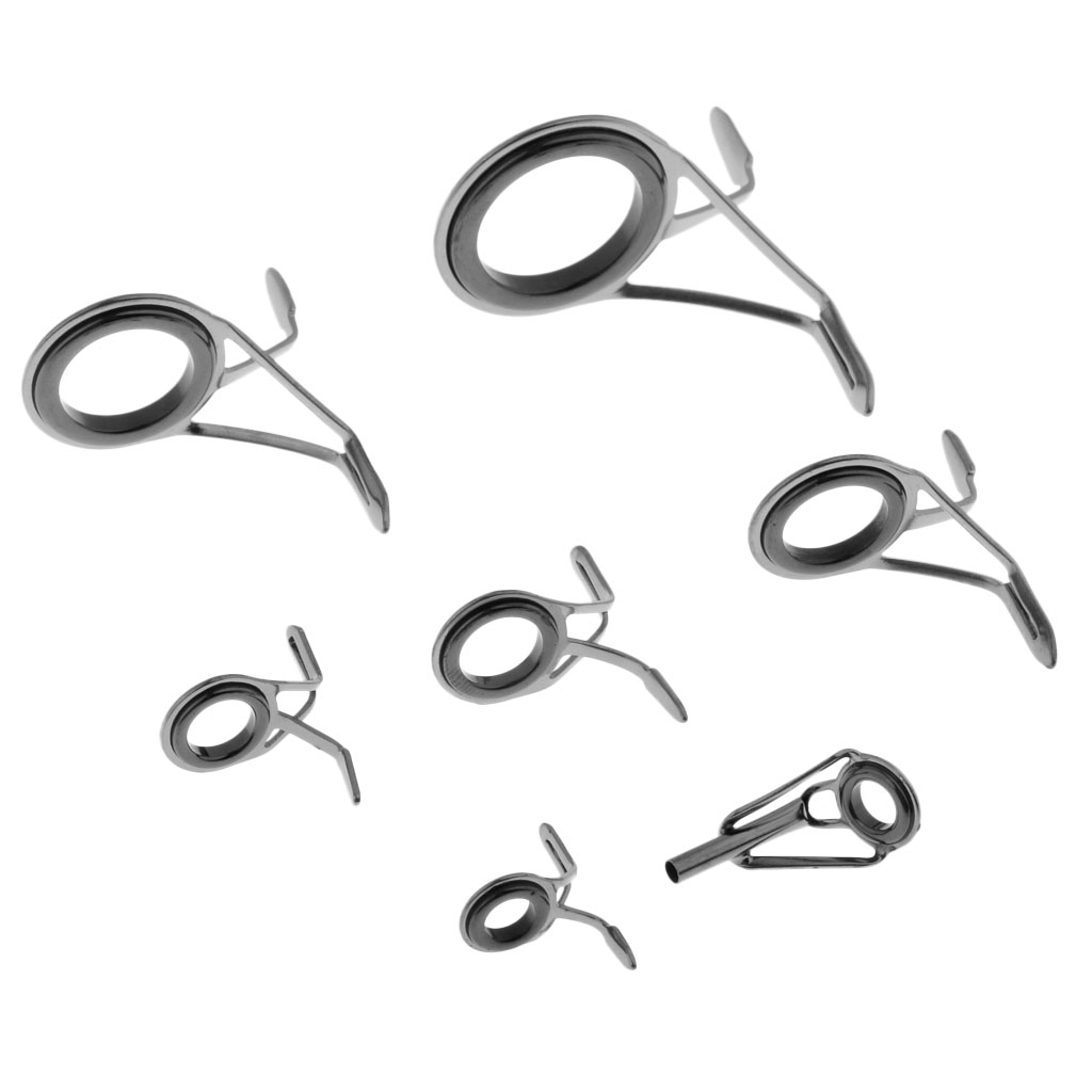 7pcs Ceramic Ring Eyes Fishing Rod Guides Double Leg Stainless Steel Frame Guías de pesca Rod canne à pêche guides