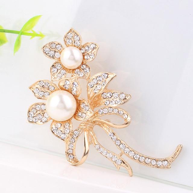 Simulated pearl Rhinestone flower brooches