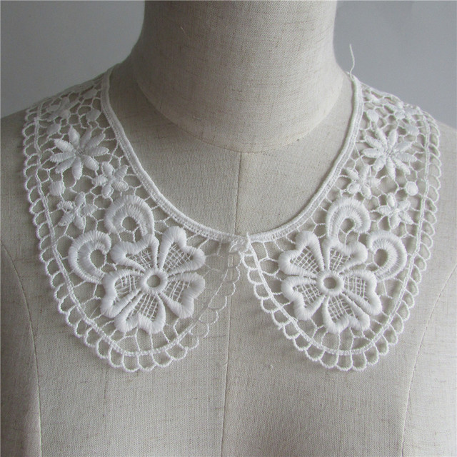1pcs sell White Floral Lace Collar Fabric Trim DIY Embroidery Lace Fabric Neckline Applique Sewing Craft YL13