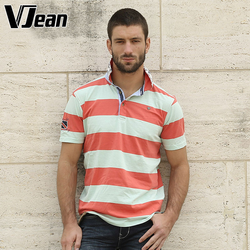 V JEAN font b Men s b font Casual font b shirt b font Striped Polo
