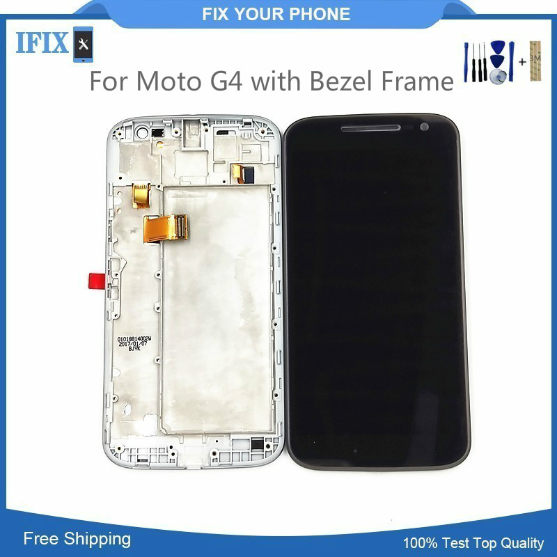100% Test For Moto G4 lcd Touch Screen digitizer Xt1626 No Dead Pixcel Mobile Phone lcd Assembly with Bezel Frame free shipping