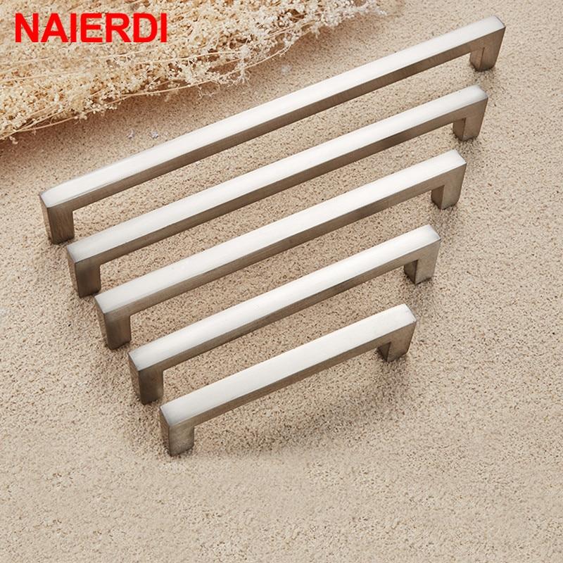 NAIERDI Kitchen Door Handles Cabinet Handles Drawer Knobs Aluminum Alloy Wardrobe Door Handles Brushed Modern Style Hardware