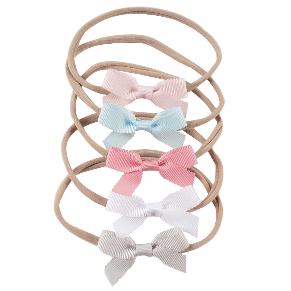 Nishine 5 шт./лот бутик детские нейлон оголовье Твердые ласточкин хвост бантом эластичные волосы группы детей новорожденных аксессуары для волос
