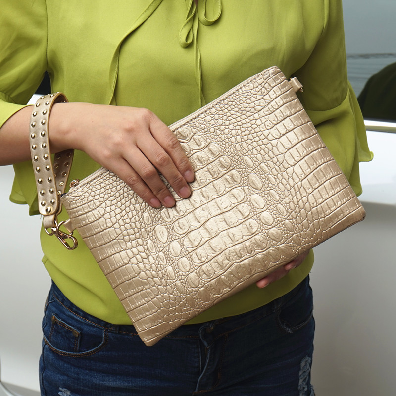 Women Clutch Bags PU Leather Crocodile Pattern Envelope Shoulder Ladies Messenger bag Handbag Female Gift Clutches Totes 2018 yuanyu 2016 new women crocodile bag women clutches leather bag female crocodile grain long hand bag
