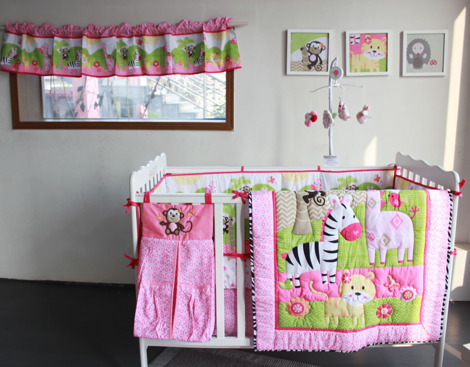 Zebra Animal Cartoon 7 Pcs Baby Bedding Set Baby Bedding Set Cartoon Baby Crib Set Quilt Bumper Sheet Skirt Baby Bedding