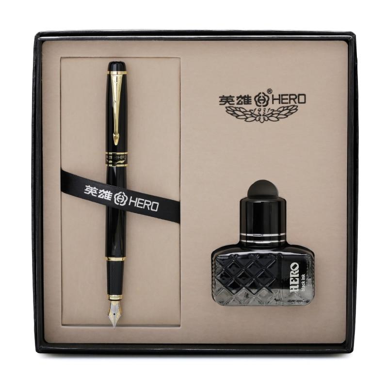 Gold Clip Black Fountain Ink Pen 0.5mm Iridium Point Metal Pens for Writing Business Gift Set School Office Supplies цены