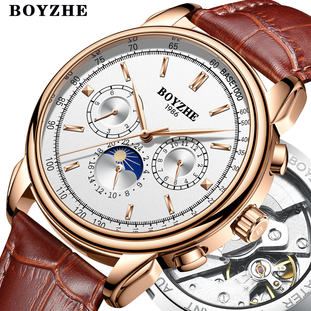 BOYZHE Men Top Luxury Brand Automatic Mechanical Watch Casual Leather Moon Phase Military Week Display Watches Relogio MasculinoBOYZHE Men Top Luxury Brand Automatic Mechanical Watch Casual Leather Moon Phase Military Week Display Watches Relogio Masculino