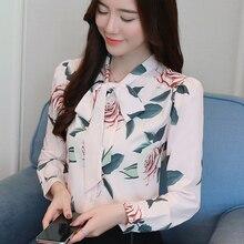 Women Blouses Chiffon Womens Korean Woman Print Shirts Elegant Plus Size Tops Blusas Mujer De Moda