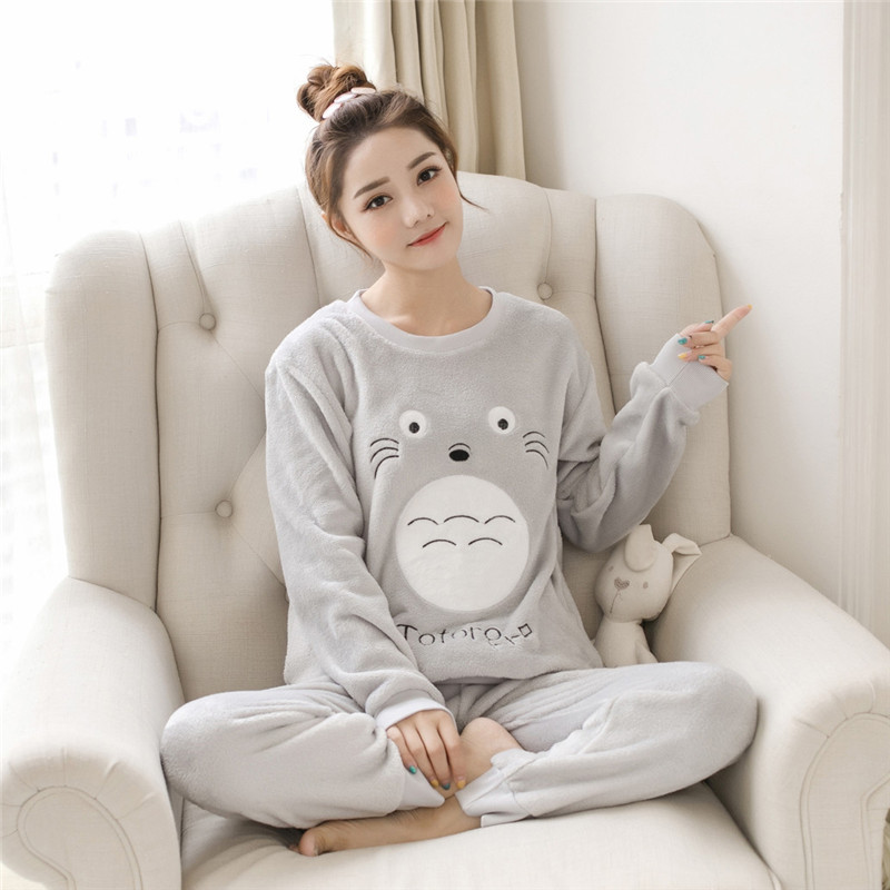 Women pajamas set Women Pyjamas Thick Flannel Cute Sheep Female Warm Winter Pajama Set Long Sleeve Full Trousers Two Piece 2019 66