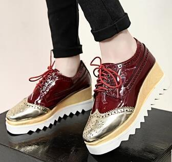 a28f022b4fd 2015 New Women s Fashion Lace Up Color Block Decoration Platform Oxfords  Wedge Heels Ankle Shoes For Women High Heel Oxfords-in Women s Flats from  Shoes on ...