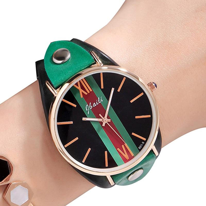 Elegant Women Watch Red Green Strip Dial Casual Ladies Watch Quartz Female Clock Leather Wrist Watch For Woman Fashion 2018 Gift цена и фото