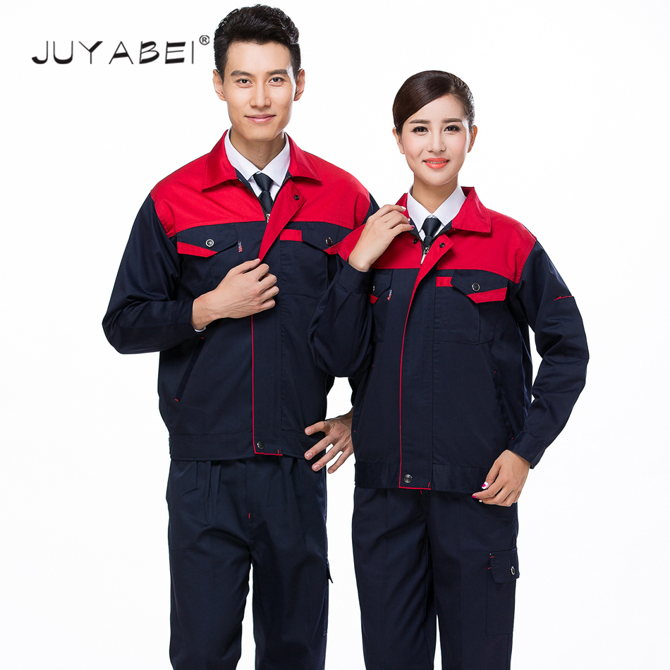 Men Work Wear Sets Two Pieces Mixed Colors Zipper Coat With Pants Unisex Engineering Service Sets Workshop Protective Clothing