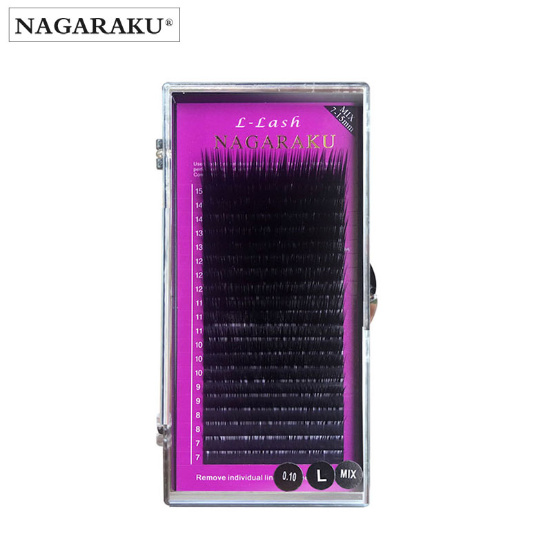 ddfa5c46a11 NAGARAKU L curl 7~15mm MIX 20rows/case mink eyelash extension,L curl. US  $4.99
