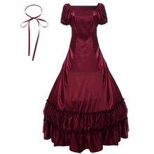 Mujeres Lolita Victorian vestido Retro Vintage Colonial guerra Civil gótico satén vestido de noche para baile negro rojo vestidos de fiesta