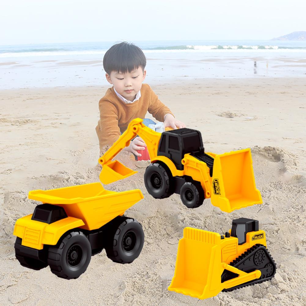 5PCS Mini Simulation Small Engineering Vehicle Construction Toy Set Excavator Bulldozer Dump Truck Wheel Beach Toy Car