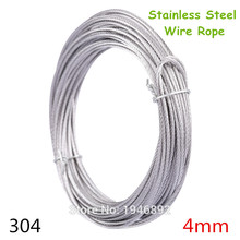 10m/lot 4mm High Stainless Steel Wire Rope Tensile Diameter 7X7 Structure Cable Gray