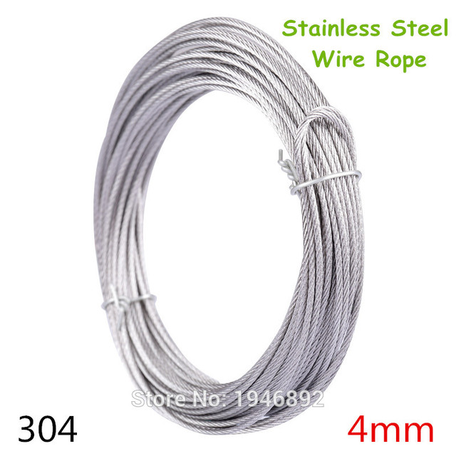 10m/lot 4mm High Stainless Steel Wire Rope Tensile Diameter 7X7 ...