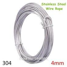 Cable de acero inoxidable de alta resistencia, 10 m/lote, 4mm, 7x7, gris