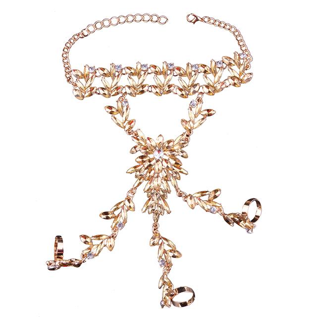 Rhinestone slave bracelet with 3 rings