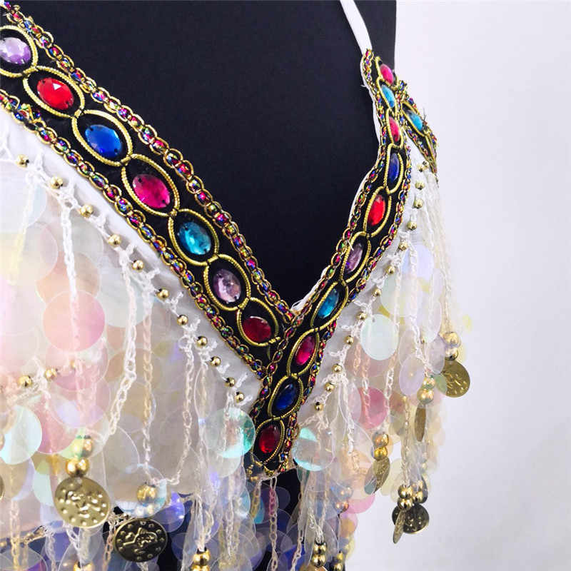 5aa316da38 ... Rainbow Sequin Tassel Mermaid Mirror Festival Body Harness Bra Bralette  Crop Top Beading Coins Lace-