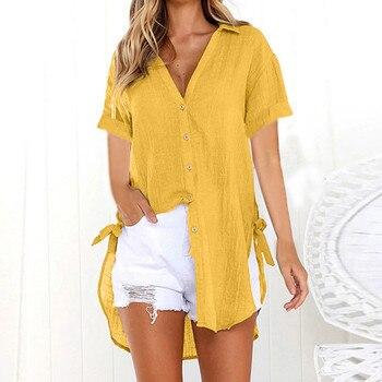 2019 Women Button Solid Bikini Cover Up Summer Beach Dress Cotton Ladies Casual Kaftan Beach Tunic T-Shirt Blouse Pareos Cape 1