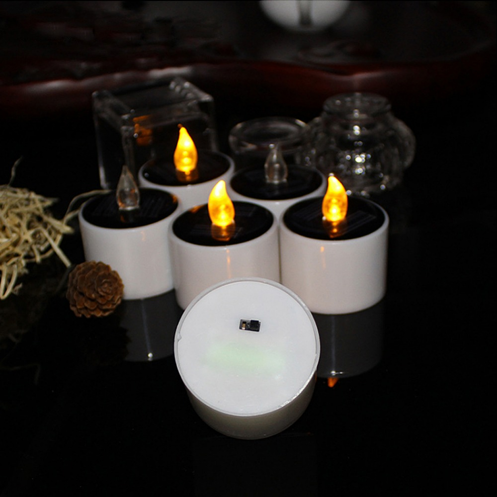 Yellow Solar Power Flickering <font><b>Electronic</b></font> Nightlight <font><b>LED</b></font> Flameless Candle Battery Operated Tealights 6PACK