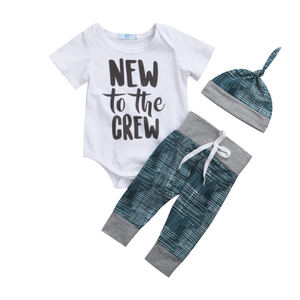 0-18M Newborn Infant Baby Boy Girl Clothing Set Short Sleeve Top Romper+Long Pant Hat 3PCS Outfits Toddler Kids Clothes