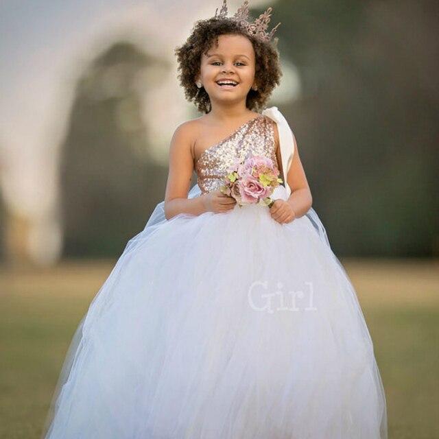 3c90f1fbd794 Oro Paillettes Fiore Ragazza Abiti Da Sposa Bianco Flower Girl Dress Tutu Vestito  Dalla Neonata del