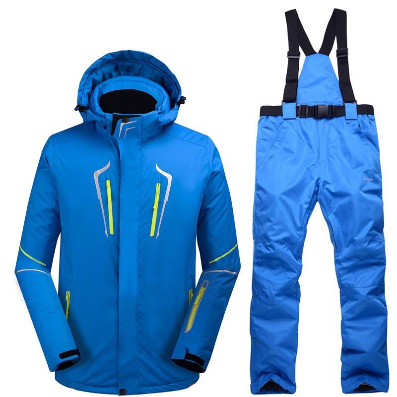 -30 New blue Man skiing suit set outdoor Snowboarding Clothing Waterproof windproof winter Costumes snow jackets + bibs pants