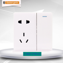 Multifunction Wall Power Socket with Push Button Switch 5 Hole Outlet Panel 1 Gang Way Eletric AC 110-250V