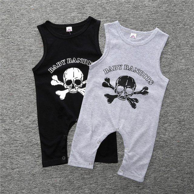 ca51741ead57 Baby Summer Clothes Children Infant Sleeveless Skull Print Playsuit ...