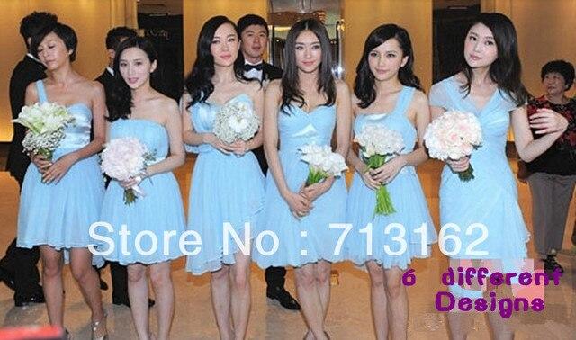 6 Different Designs Set Short Light Blue Ruffles Chiffon Bridesmaid ...