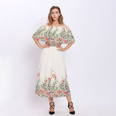 New plus size boho dress women 2019 summer elegant robe femme sexy Off the Shoulder Floral long dresses