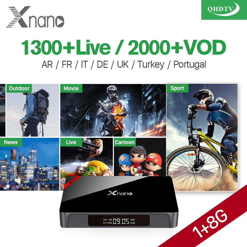 Android 6.0 IPTV Set Top Box XNANO 1G 8G TV Receiver 1300+ Arabic IPTV French Europe IPTV Subscription 1 Year QHDTV Account x92 android iptv box s912 set top box 700 live arabic iptv europe french iptv subscription 1 year iptv account code