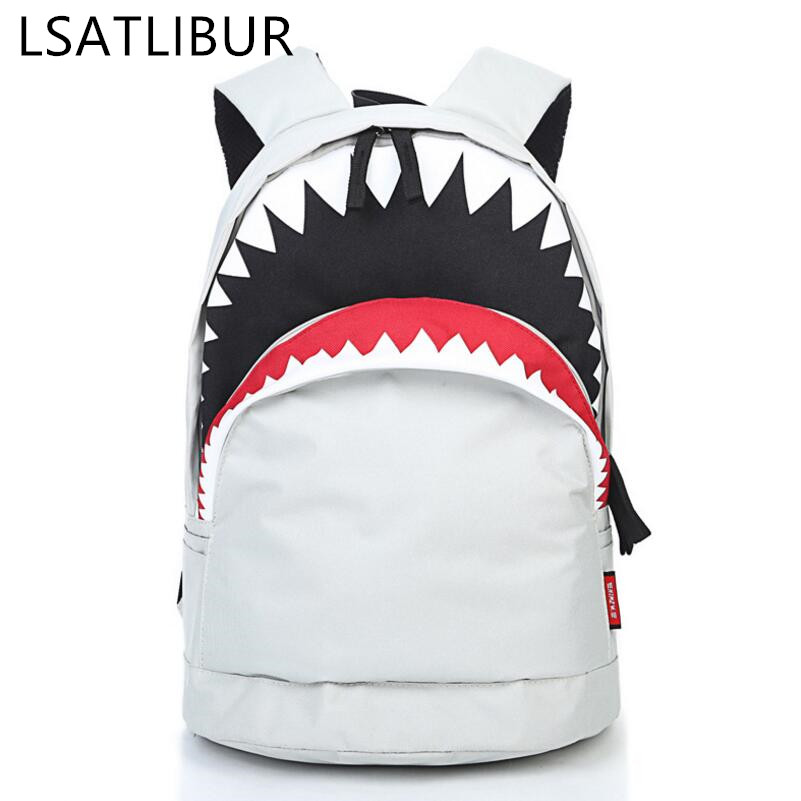 WOMEN BACKPACKS FASHION Big Mouth Shark Fantasy Backpack Casual Canvas Ladies Backpacks wild simple men backpack s h97 ...