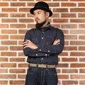 2016 bronson ferramental dos homens da listra do vintage camisa de manga longa