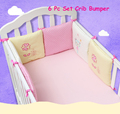 Infant Crib Bumper Bed Protector Baby Kids Cotton Cot Nursery bedding 6 pc Cotton Pink Cat Square Shape Pillow for girl