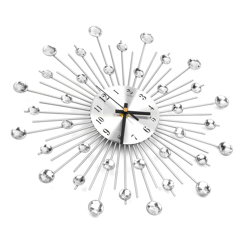Charminer 33*33*4.5 cm Arte Da Parede do Metal Relógio de Diamantes de Luxo Grande Relógio de Parede Relógio Orologio Da Parete Decoração Da Sua casa