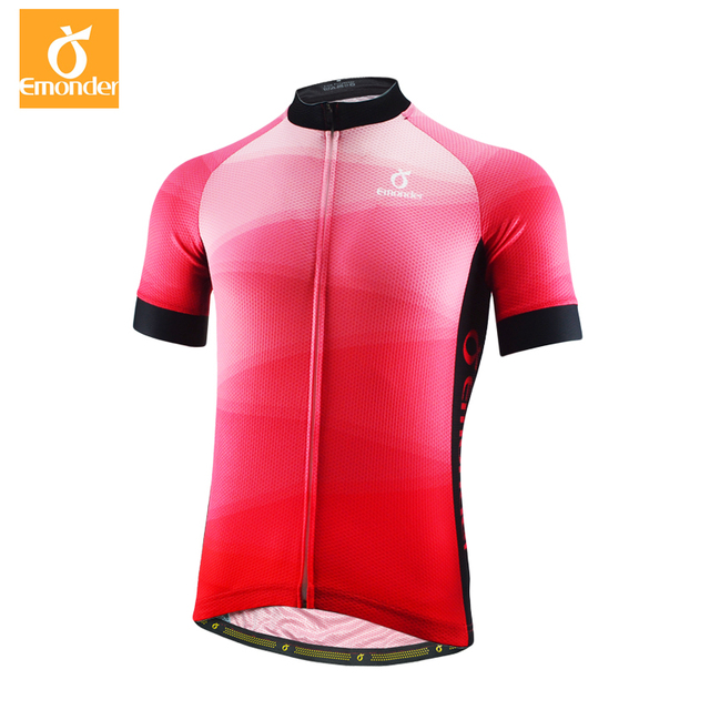 2700de846 EMONDER Pro Team Men Cycling Jersey Short Sleeve Top quality fabric Summer  cool Breathable Bicycle Clothing Red Free Shipping