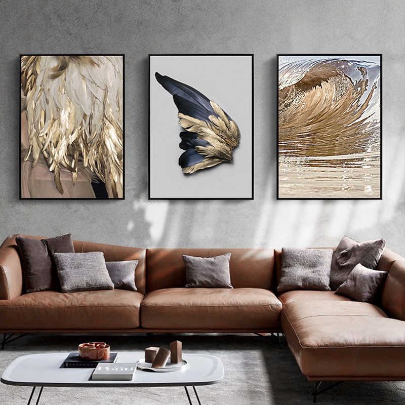 Nordic Decor Feathers Canvas Painting White Poster And Print Unique Modern Golden Wings Wall Art For Living Room Bedroom Aisle
