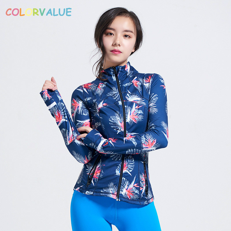Colorvalue New Printed Yoga Sport Jacket Women Anti-sweat Nylon Running Jogger Coat Elastic Fitness Jacket Top with Thumb Holes ...