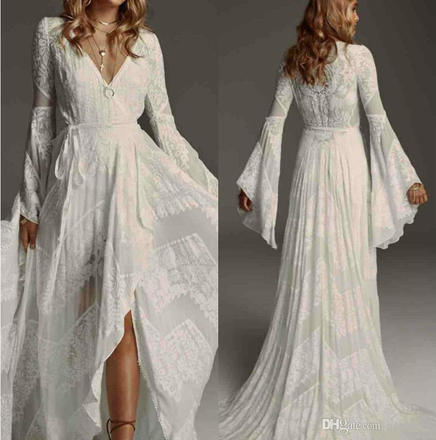 Bohemain 2019 Wedding Dresses V Neck Lace Bridal Gowns Puffy Long Sleeves Boho Custom Plus Size Beach Wedding Dress