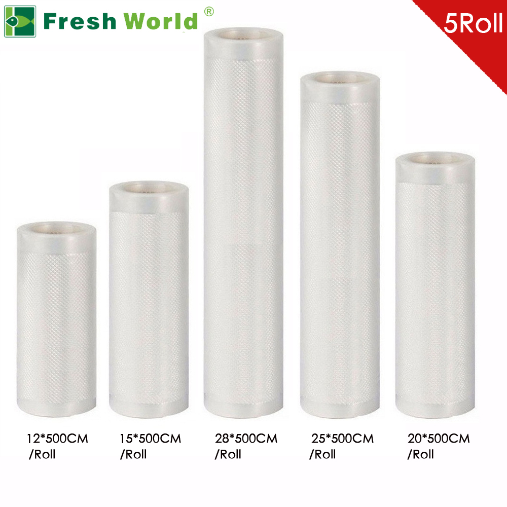 5 Rolls/Lot Fresh World Kitchen Food Vacuum Bag Storage Bags For Vacuum Sealer Food Fresh Long Keeping 12+15+20+25+28cm*500cm kitcox70427sfc023803 value kit naturehouse fresh nap moist towelettes sfc023803 and glad forceflex tall kitchen drawstring bags cox70427