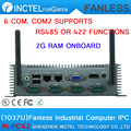 Hot supply Celeron 1037 low power Car embedded fanless IPC with onboard 2G RAM 6 COM COM2 support RS485 422 two 8111E Gigabit