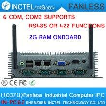 Горячая питания Celeron 1037 низкой мощности Автомобиля embedded безвентиляторный МПК с на борту 2 Г RAM 6 COM COM2 поддержка RS485 422 два 8111E Gigabit