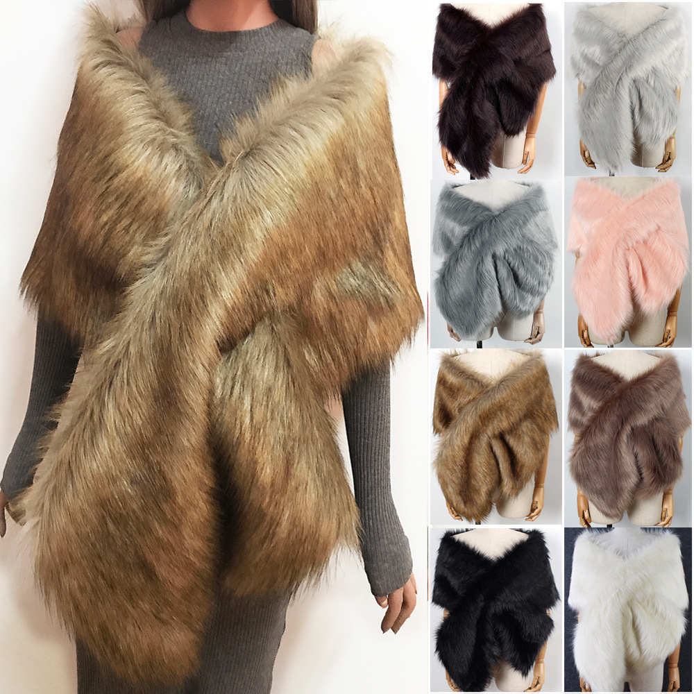 P0154 New Fashion Winter scarf Female Shawl Multicolor all-match Bride Shawls Women Winter Faux Fur Shawl
