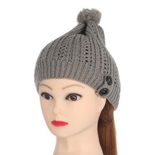 8ba76d87ad8 New Fashion Winter Warm Stretchy Beanie Baggy Hat Women Knitted Caps Unisex  Button Slouchy Knitting Ski Beanie Cap